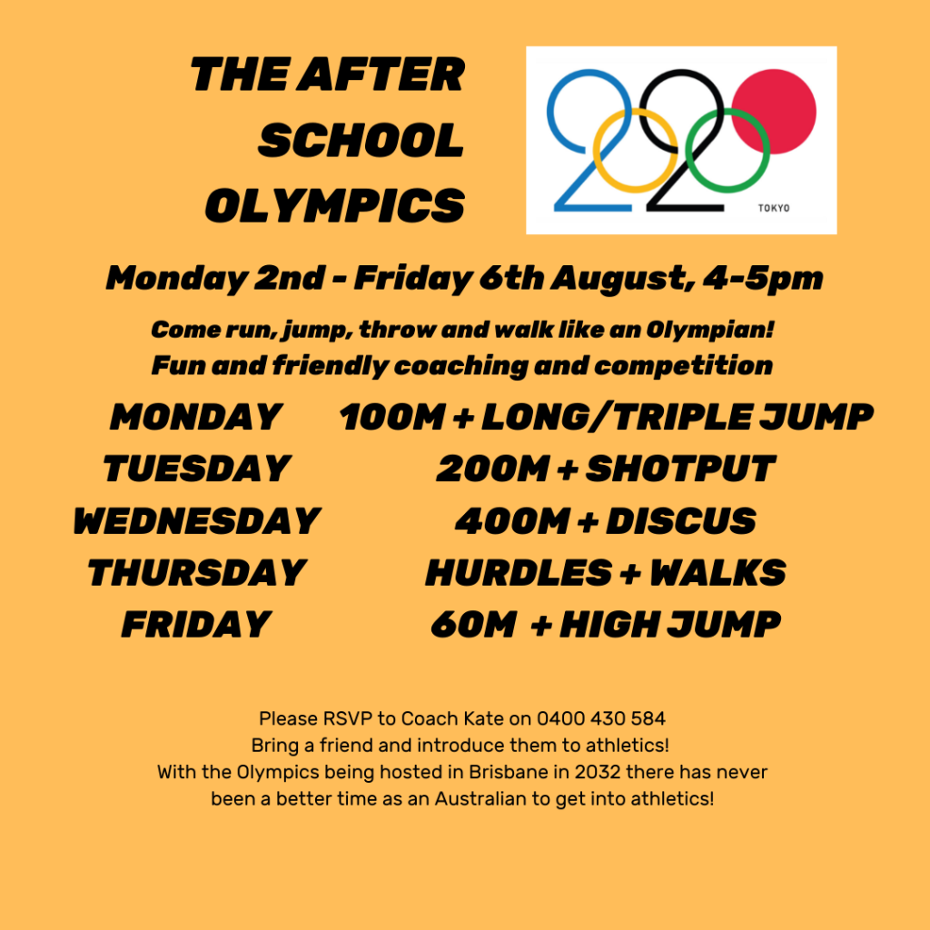 The After School Olympics. Monday 2nd to Friday 6th August.